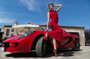 Image Red Posing Gown Hands Legs Stilettos Elisa Pagano female Cars Celebrities