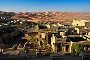 Bakgrunnsbilder De forente arabiske emirater Ørken Resort Bygning Sand Abu Dhabi, Qasr al Sarab Desert Resort en by