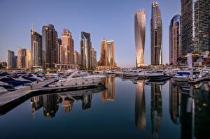 Bakgrunnsbilder De forente arabiske emirater Dubai Hus Skyskrapere Lystbåt Marina Skyline
