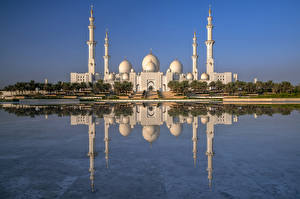 Image Emirates UAE Mosque Reflection Sheikh Zayed Grand Mosque, Abu Dhabi Cities