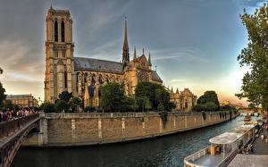 Wallpaper France Temple Cathedral River Bridge Paris Notre-Dame