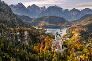Photo Germany Castles Neuschwanstein Mountains Lake Scenery Bavaria Alps Schwansee Nature