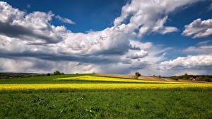 Wallpapers Germany Fields Landscape photography Bavaria Clouds