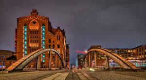 Pictures Germany Hamburg Houses Bridge Cities