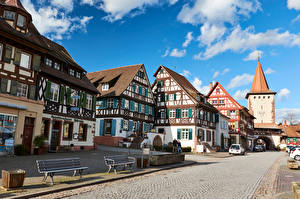 Images Germany Houses Sky Street Bench Gengenbach