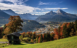 Pictures Germany Mountains Autumn Scenery Bavaria Alps Valley