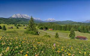 Wallpaper Germany Mountains Grasslands Summer Landscape photography Bavaria Alps