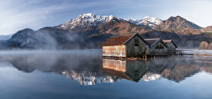 Photo Germany Mountain Morning Lake Panorama Bavaria Reflection Fog Alps Kochelsee Nature
