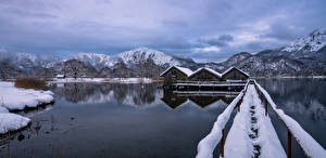 Images Germany Mountains Winter Lake Bavaria Alps Nature