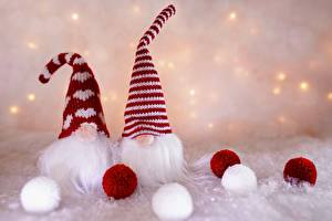 Wallpaper Gnome New year Winter hat Beards Balls