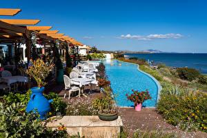 Fotos Griechenland Meer Himmel Küste Schwimmbecken Lachania Natur