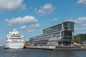 Bureaubladachtergronden Hamburg Duitsland Cruiseschip Cruise Center