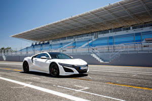 Pictures Honda White Acura NSX automobile