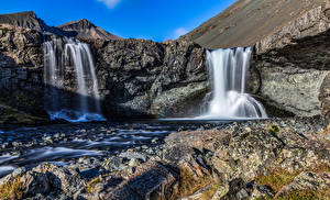 Picture Iceland Waterfalls Cliff Skutafoss Nature