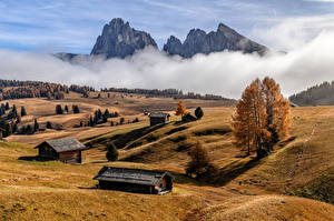 Images Italy Mountain Autumn Fog Alps South Tyrol