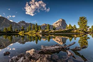 Images Italy Mountains Lake Alps Cliff Reflection Dolomites Nature