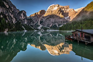 Photo Italy Mountain Lake Alps Reflection Dolomites, Alto Adiga Nature