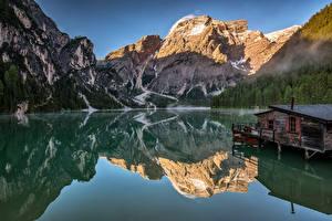 Bureaubladachtergronden Italië Berg Een meer Alpen Reflectie Dolomites, Alto Adiga Natuur