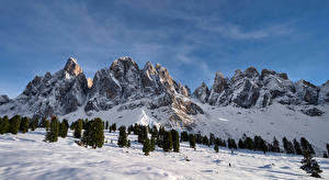 Pictures Italy Mountain Snow Cliff Odle, Dolomites