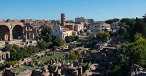 Bakgrundsbilder på skrivbordet Italien Rom Ruinerna Museum Forum Romain stad