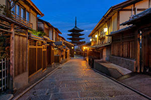 Photo Japan Kyoto Building Street Street lights Gion Cities
