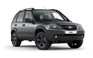 Photo Lada Sport utility vehicle Black White background Niva Off-Road (2123), 2020 automobile