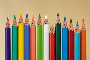 Photo Many Smilies Colored background Pencils Multicolor