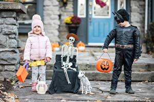 Hintergrundbilder Masken Halloween Junge Kleine Mädchen Skelett Kinder