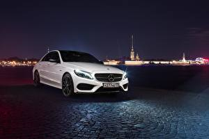 Wallpaper Mercedes-Benz White Night c450 amg 43 Cars