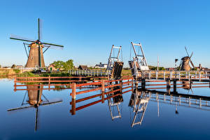 Wallpapers Netherlands Bridge Mill Canal Zaanse Schans Nature