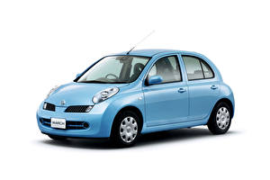 Images Nissan Light Blue Metallic White background  automobile