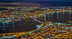 Photo Norway Bridges Houses Night time From above