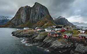 Hintergrundbilder Norwegen Gebirge Gebäude Lofoten