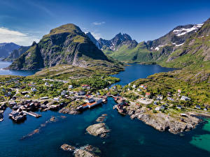 Hintergrundbilder Norwegen Gebirge Gebäude Lofoten Felsen