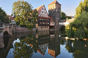 Image Nuremberg Germany Houses Rivers Bridges Reflection Cities