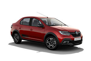 Picture Renault Red Metallic White background Logan Stepway City, CIS-spec, 2018 -- auto
