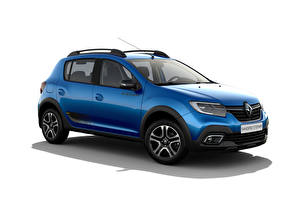Pictures Renault Blue Metallic White background Sandero Stepway City, CIS-spec, 2018 -- automobile