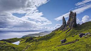 Bilder Schottland Berg Küste Wolke Felsen Isle of Skye