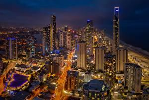 Picture Skyscrapers Building Australia Night Queensland, Gold Coast