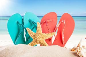 Pictures Sea stars Flip-flops Sand