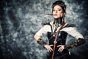 Images Steampunk Posing Glasses Hands Cigaret Gears female