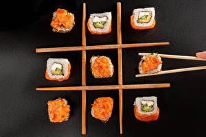 Pictures Sushi Gray background Chopsticks Food