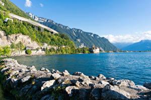 Fotos Schweiz See Küste Steine Felsen lake Geneva