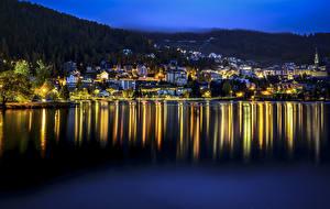Image Switzerland Lake Houses Night St. Moritz Cities