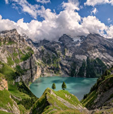 Picture Switzerland Mountain Lake Alps Cliff Clouds Berner Oberland Nature