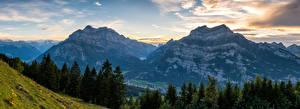 Wallpapers Switzerland Mountain Scenery Alps Spruce Clouds Glarus