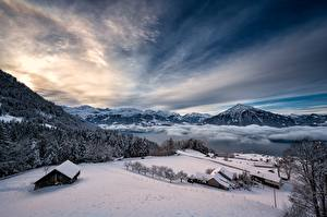 Pictures Switzerland Winter Mountains Lake Sky Alps Snow Thunersee