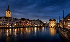 Image Switzerland Zurich Houses Rivers Bridge Limmat River Cities