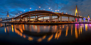 Photo Thailand Bangkok Bridges Night time King's Bridge Cities
