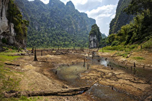 Wallpapers Thailand Park Lake Cliff Sand Moss Cheow Lan Lake Khao Sok National Park